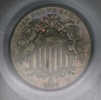 1869 PCGS 5C SHIELD NICKEL 5 CENTS AU55 TONED GREAT COLOR