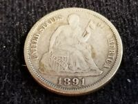 1891 O SEATED LIBERTY SILVER DIME, FULL DATE, FULL LIBERTY    D23