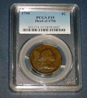 PCGS 1794 BUST LARGE CENT F 15 HEAD OF 94 FLOWING HAIR LIBERTY CAP 1C COPPER