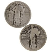 RAW 2 PACK 1926-S & 1927-D STANDING LIBERTY 25C CIRC 90 SILVER QUARTER LOT