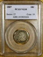 1807 JR-1 PCGS VG10 DRAPED BUST DIME