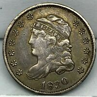 1830 CAPPED BUST HALF DIME U.S. 5 CENTS SILVER IN GREAT CONDITION  COIN.