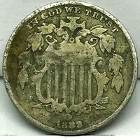 1883/2- 3 OVER 2   SHIELD NICKEL 5C CENTS -  DETAILS COIN.