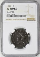 1833 CORONET HEAD LARGE CENT NGC AU DETAILS N-3
