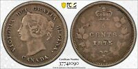 1875H CANADA SILVER 5 CENTS LARGE DATE 5C PCGS VF 20