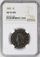 1822 CORONET HEAD LARGE CENT NGC AU-53 N-10