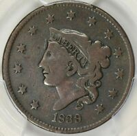 1839/6 CORONET HEAD LARGE CENT PCGS F-12