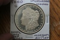 1880 S  FULL BREAST FEATHERS  DMPL  UNC     MORGAN SILVER DO