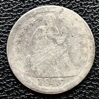 1845 SEATED LIBERTY DIME 10C CIRCULATED 17249