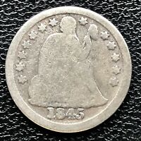 1845 SEATED LIBERTY DIME 10C CIRCULATED 17251