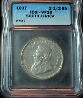 1897 SOUTH AFRICA 2 1/2 SILVER SHILLINGS ICG VF 30