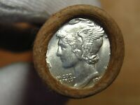 ONE  FRB DENVER MERCURY SILVER DIME ROLL GEM 1917 & D MINT