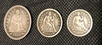 SEATED LIBERTY SILVER US COIN LOT  1854 QUARTER 1853 DIME 18