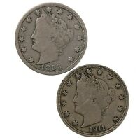 RAW 2 PACK 1883 1911 LIBERTY HEAD 5C CIRC US MINT NICKEL COIN LOT