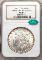 1897 VAM-6A NGC  CAC MINT STATE 64 PITTED REVERSE MORGAN SILVER DOLLAR TOP 100 VAM VAM6A