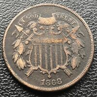1868 TWO CENT PIECE 2C BETTER GRADE 2 CENTS EXTRA FINE  DARK 18528