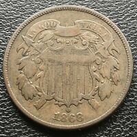 1868 TWO CENT PIECE 2C BETTER GRADE 2 CENTS  18529
