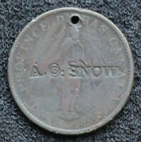 CANADA COUNTERMARK: AO SNOW ON OBV OF CITY BANK HALFPENNY BR