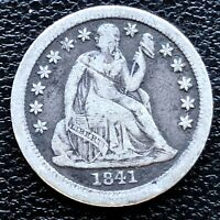 1841 SEATED LIBERTY DIME 10C BETTER GRADE 18641