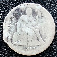 1861 S SEATED LIBERTY DIME 10C  KEY DATE CIRCULATED DAMAGED 18658