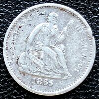 1865 S SEATED LIBERTY HALF DIME 5C HIGH GRADE EXTRA FINE  DET.  18705