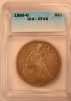 1860-O NEW ORLEANS SEATED LIBERTY DOLLAR IGC EF40 EXTRA FINE