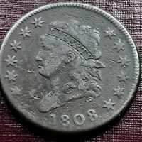 1808 LARGE CENT CLASSIC HEAD ONE CENT 1C HIGHER GRADE F - VF  17974