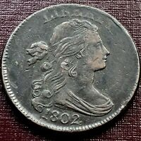 1802 LARGE CENT DRAPED BUST ONE CENT 1C BETTER GRADE VF   XF  17975