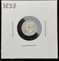 1853 THREE CENT SILVER UNCIRCULATED HIGH GRADE EXAMPLE
