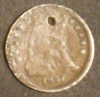 1857-P SEATED LIBERTY SILVER HALF DIME.  SHIPS FREE