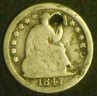 1847-P SEATED LIBERTY SILVER HALF DIME.  SHIPS FREE