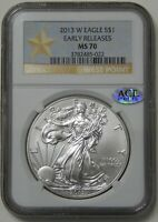 2013-W $1 BURNISHED AMERICAN SILVER EAGLE  NGC MS 70 EARLY RELEASES STAR LABEL