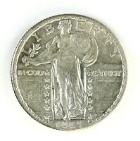 RAW 1924 STANDING LIBERTY 25C CIRCULATED US SILVER QUARTER COIN