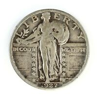RAW 1927-D STANDING LIBERTY 25C CIRCULATED US SILVER QUARTER COIN