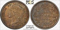 TONED 1891 CANADA SILVER 5 CENTS PCGS MS 62