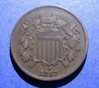 1867 TWO CENT PIECE CH. VF