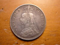 LOVELY BRITISH STERLING SILVER DOUBLE FLORIN COIN QUEEN VICTORIA 1887