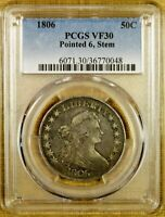 1806 O-114A PCGS VF30 DRAPED BUST HALF DOLLAR