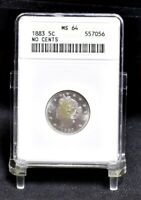 1883 LIBERTY NICKEL - NO CENTS - ANACS MINT STATE 64 22648