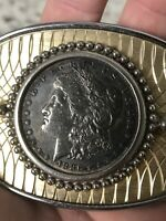 1886 MORGAN SILVER DOLLAR BELT BUCKLE EXCELLENT CONDITION