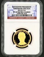 2010 S $1 16TH PRESIDENT LINCOLN DOLLAR NGC CERTIFIED PF 69