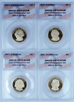SET OF 8 $1 ICG/ANACS GRADED PR70DCAM PROOF PRESIDENTIAL DOL