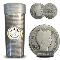 $5 FACE VALUE BARBER DIMES 90  SILVER 50 COIN ROLL  CIRCULATED