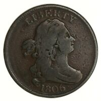 RAW 1806 DRAPED BUST 1/2C CIRCULATED LARGE 6 WITH STEMS COPPER US HALF CENT COIN