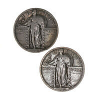 RAW 2 PACK 1923 1924 STANDING LIBERTY 25C CIRCULATED US MINT SILVER QUARTER LOT