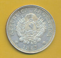 UNCIRCULATED ARGENTINA SILVER COIN 20 CENTAVOS 1883 KM 27 ALMOST UNCIRCULATED
