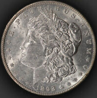 1892 P MORGAN DOLLAR, UNCIRCULATED DETAILS, CLEANED, HARD TO FIND IN UNC, C4637