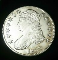 1830 SMALL 0 CAPPED BUST SILVER HALF DOLLAR  COIN IN PICTURE