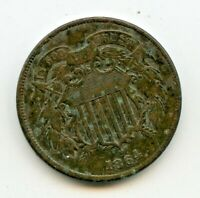 1864 TWO CENT   EXTRA FINE DETAIL  CORRODED