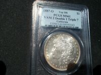 PCGS MORGAN 1887 O VAM 2 DOUBLE 1 TRIPLE 7 MINT STATE 61 - CALIFORNIA - TOP 100